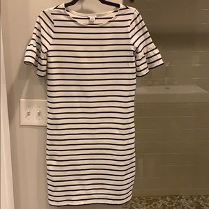 J.Crew Factory White/Navy Bell Sleeve Shift Dress